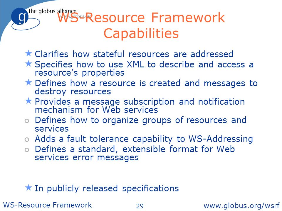 29 WS-Resource Framework   WS-Resource Framework Capabilities Clarifies how stateful resources are addressed Specifies how to use XML to describe and access a resources properties Defines how a resource is created and messages to destroy resources Provides a message subscription and notification mechanism for Web services Defines how to organize groups of resources and services Adds a fault tolerance capability to WS-Addressing Defines a standard, extensible format for Web services error messages In publicly released specifications