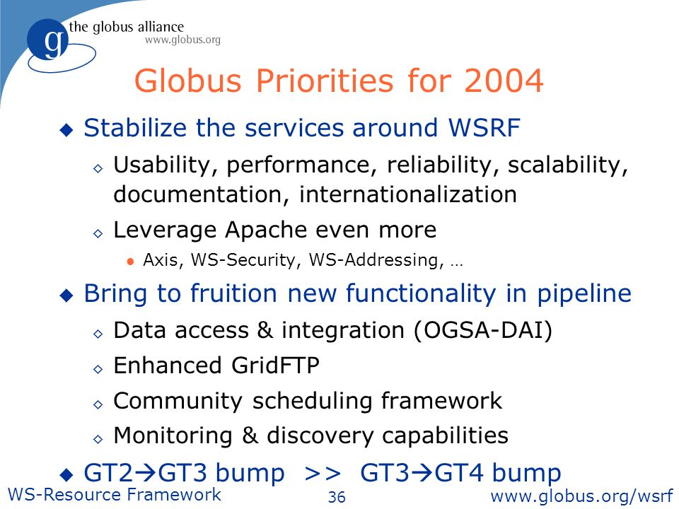 36 WS-Resource Framework   Stabilize the services around WSRF Usability, performance, reliability, scalability, documentation, internationalization Leverage Apache even more l Axis, WS-Security, WS-Addressing, … Bring to fruition new functionality in pipeline Data access & integration (OGSA-DAI) Enhanced GridFTP Community scheduling framework Monitoring & discovery capabilities GT2 GT3 bump >> GT3 GT4 bump Globus Priorities for 2004