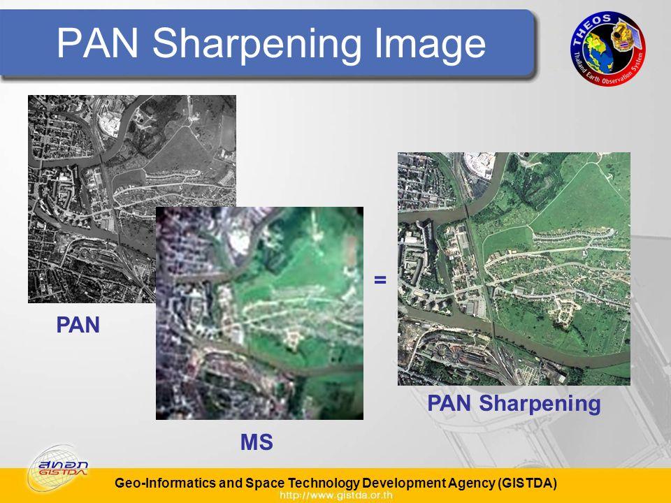 Geo-Informatics and Space Technology Development Agency (GISTDA) PAN Sharpening Image PAN MS PAN Sharpening =