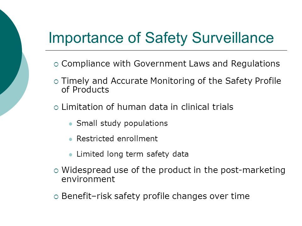Importance of Safety Surveillance Compliance with Government Laws and Regulations Timely and Accurate Monitoring of the Safety Profile of Products Lim