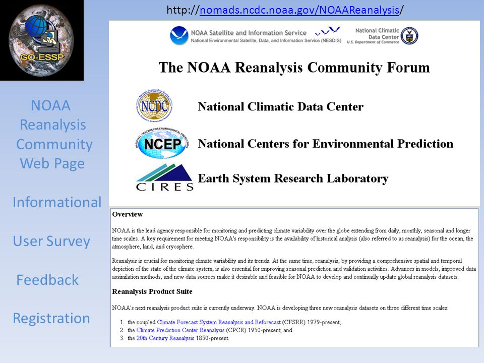 NOAA Reanalysis Community Web Page Informational User Survey Feedback Registration http://nomads.ncdc.noaa.gov/NOAAReanalysis/nomads.ncdc.noaa.gov/NOA