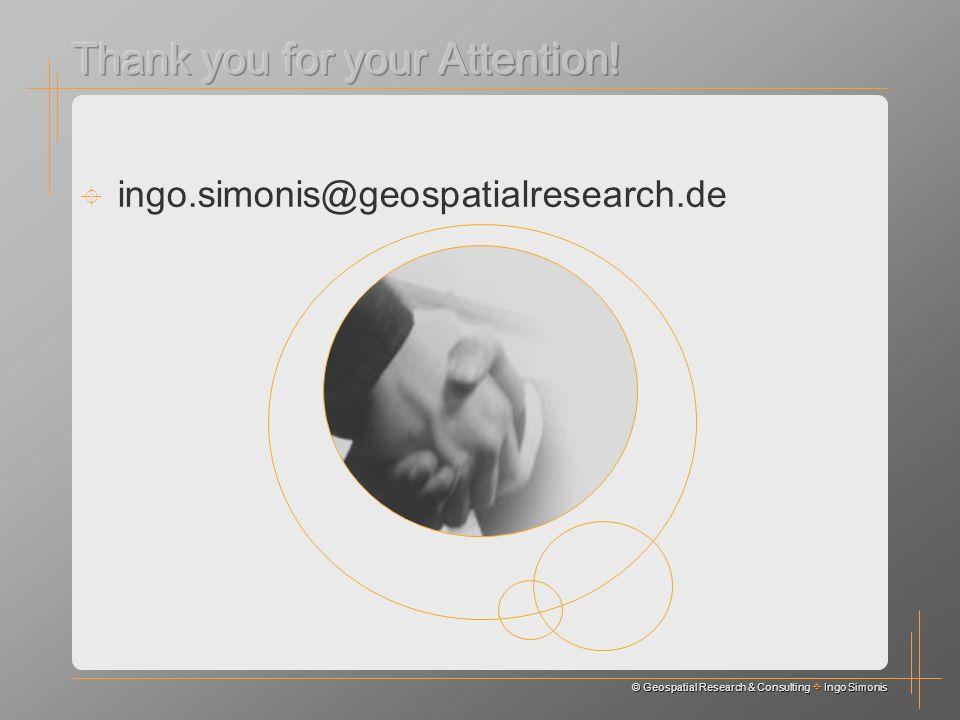 © Geospatial Research & Consulting Ingo Simonis ingo.simonis@geospatialresearch.de