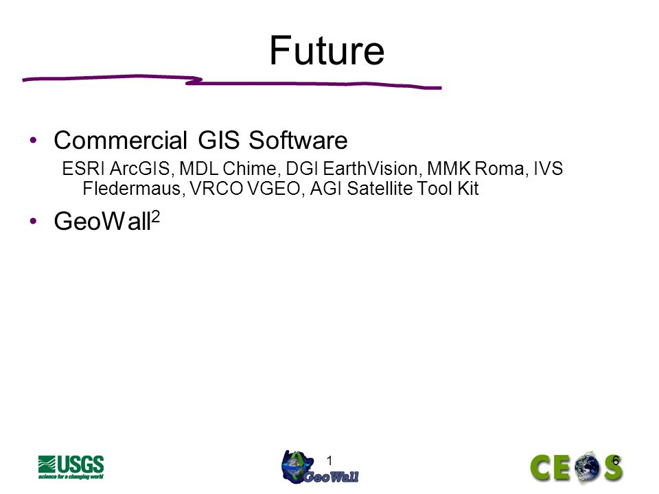 16 Future Commercial GIS Software ESRI ArcGIS, MDL Chime, DGI EarthVision, MMK Roma, IVS Fledermaus, VRCO VGEO, AGI Satellite Tool Kit GeoWall 2
