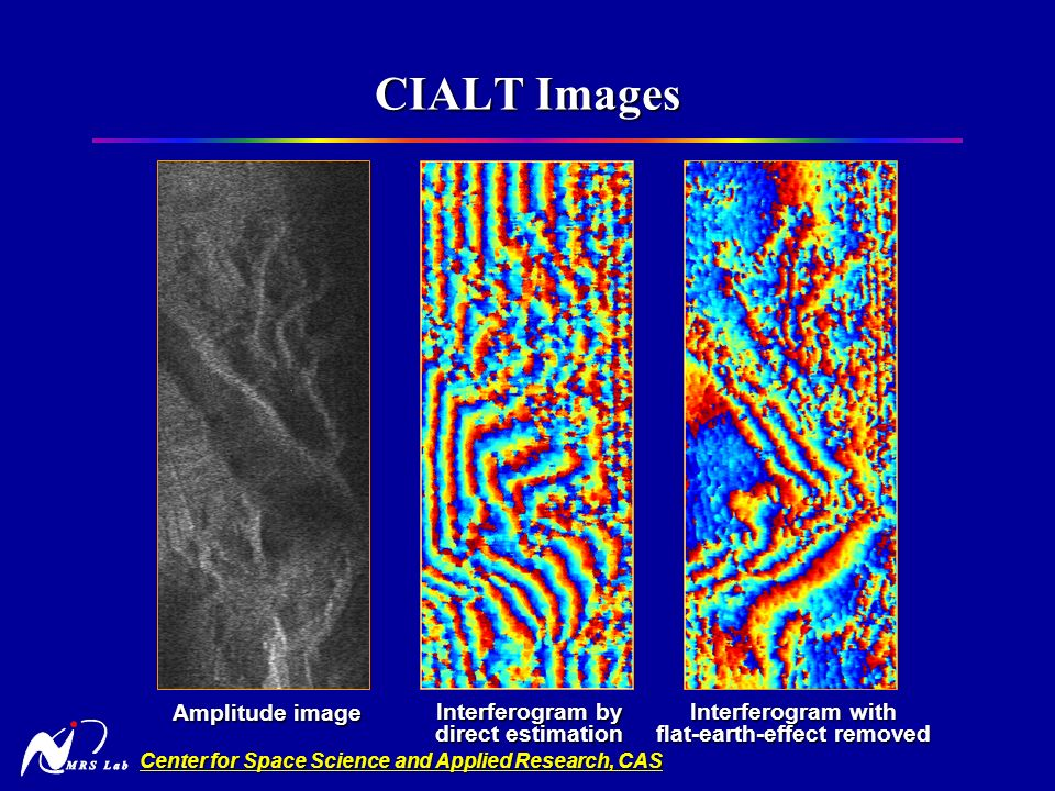 Center for Space Science and Applied Research, CAS CIALT Images Interferogram with flat-earth-effect removed Amplitude image Interferogram by direct estimation