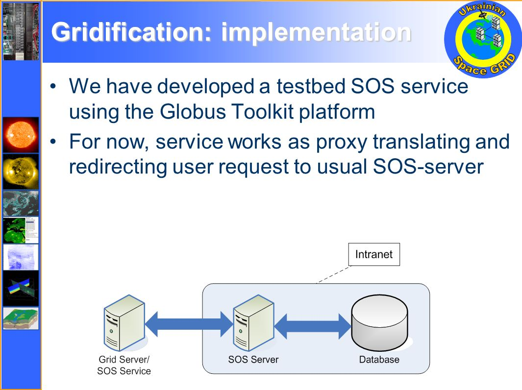 Gridification: implementation We have developed a testbed SOS service using the Globus Toolkit platform For now, service works as proxy translating and redirecting user request to usual SOS-server
