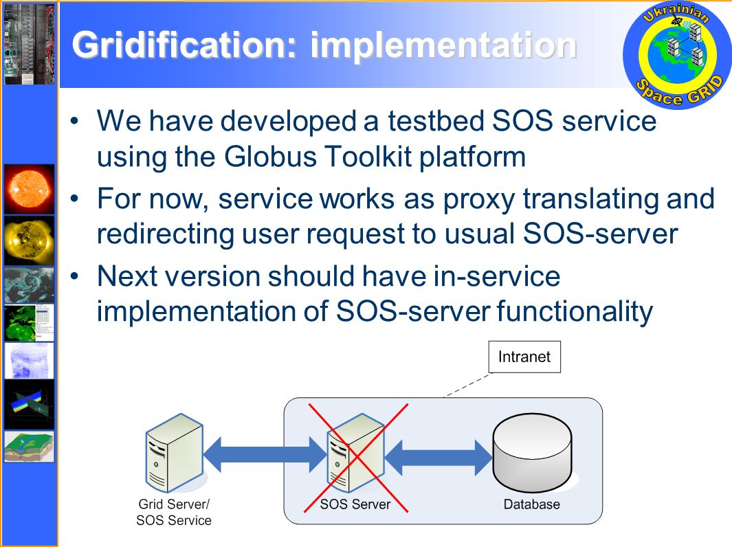 Gridification: implementation We have developed a testbed SOS service using the Globus Toolkit platform For now, service works as proxy translating and redirecting user request to usual SOS-server Next version should have in-service implementation of SOS-server functionality