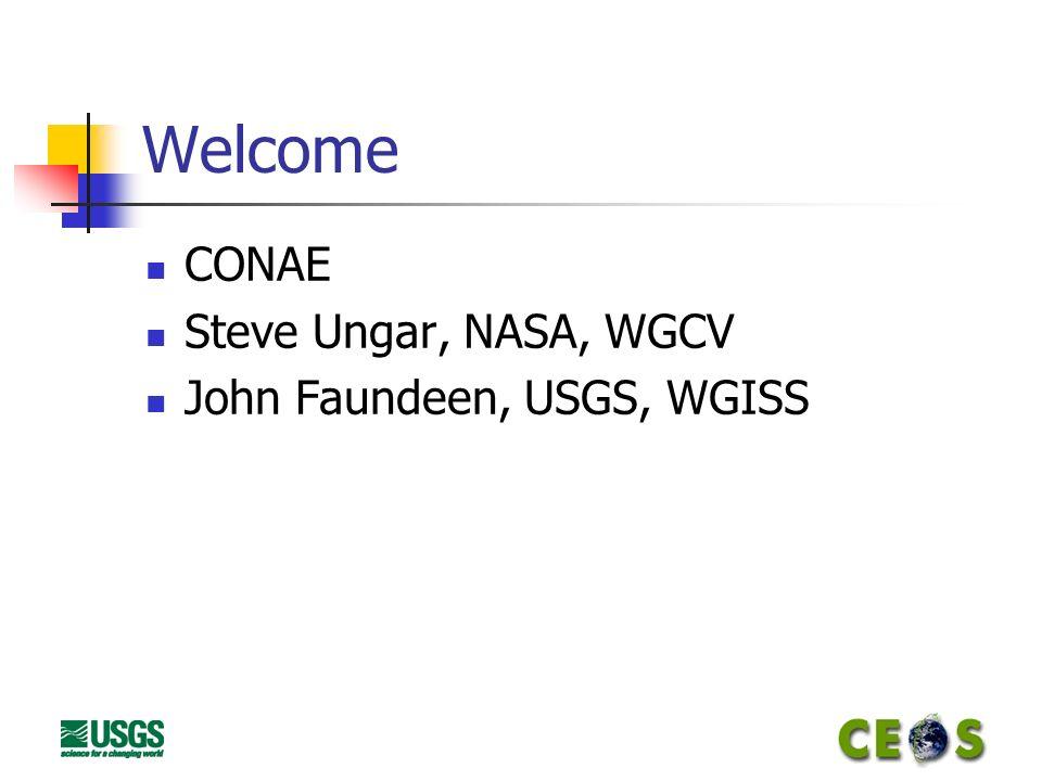 Welcome CONAE Steve Ungar, NASA, WGCV John Faundeen, USGS, WGISS