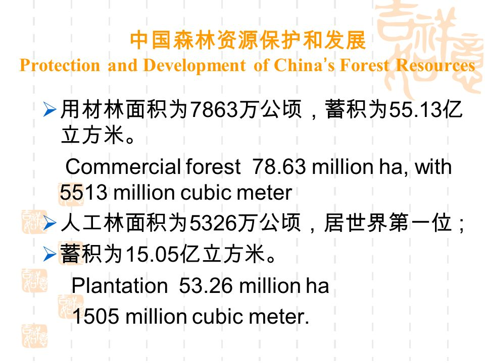 Protection and Development of China s Forest Resources 7863 55.13 Commercial forest 78.63 million ha, with 5513 million cubic meter 5326 ; 15.05 Plantation 53.26 million ha 1505 million cubic meter.