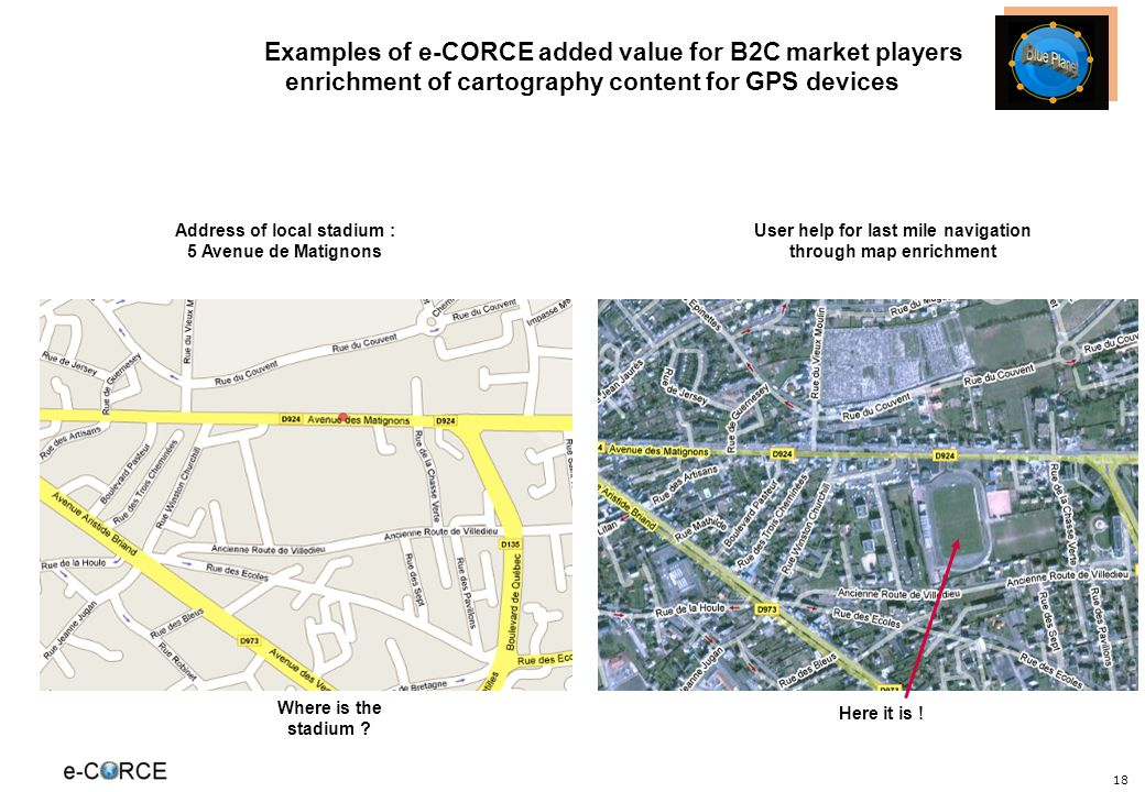 18 Examples of e-CORCE added value for B2C market players enrichment of cartography content for GPS devices Address of local stadium : 5 Avenue de Matignons User help for last mile navigation through map enrichment Where is the stadium .