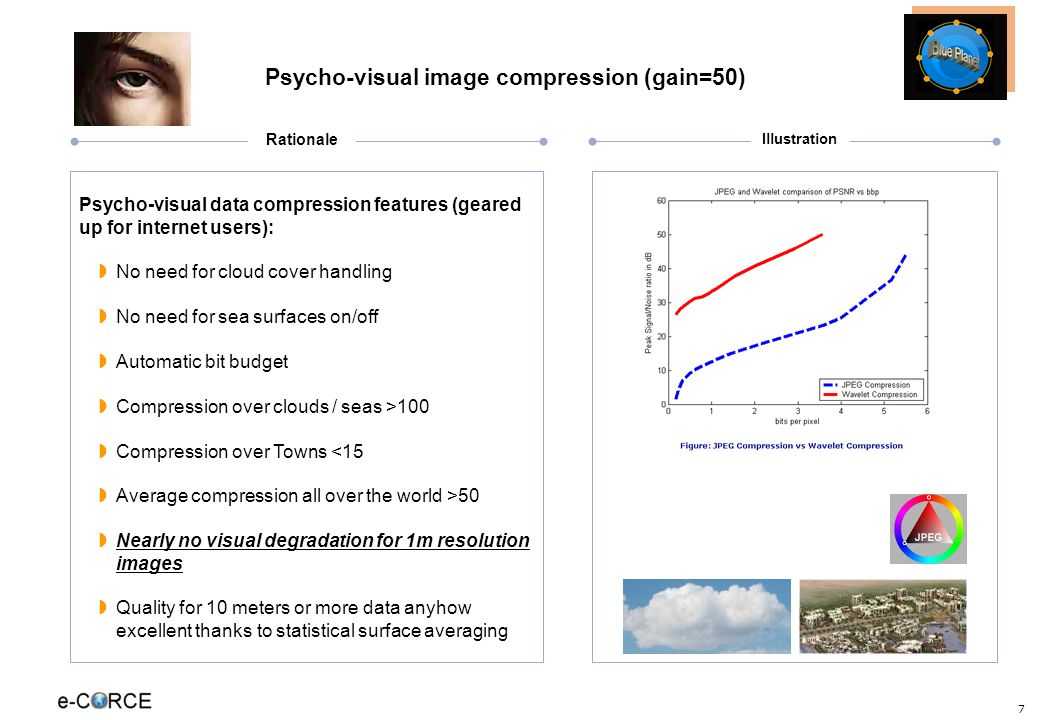 7 Psycho-visual image compression (gain=50) Psycho-visual data compression features (geared up for internet users): No need for cloud cover handling No need for sea surfaces on/off Automatic bit budget Compression over clouds / seas >100 Compression over Towns <15 Average compression all over the world >50 Nearly no visual degradation for 1m resolution images Quality for 10 meters or more data anyhow excellent thanks to statistical surface averaging Illustration Rationale
