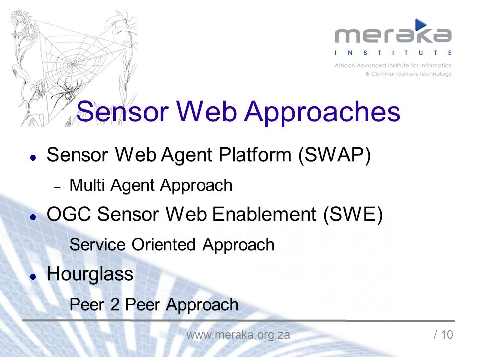 / 10 Sensor Web Approaches Sensor Web Agent Platform (SWAP) Multi Agent Approach OGC Sensor Web Enablement (SWE) Service Oriented Approach Hourglass Peer 2 Peer Approach