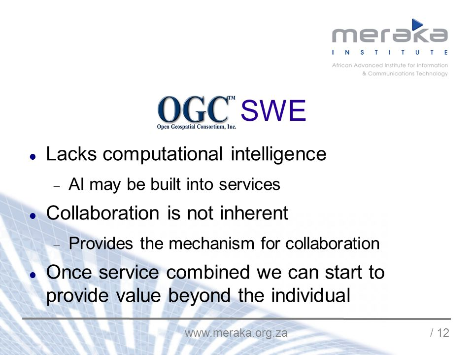 / 12 OGC SWE Lacks computational intelligence AI may be built into services Collaboration is not inherent Provides the mechanism for collaboration Once service combined we can start to provide value beyond the individual