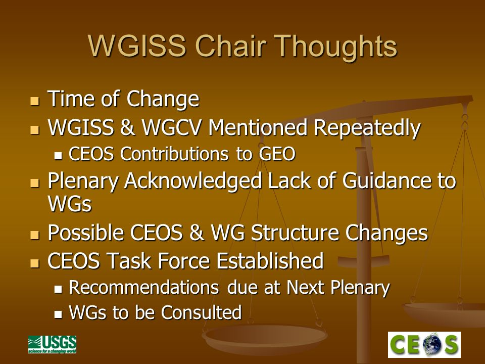 WGISS Chair Thoughts Time of Change Time of Change WGISS & WGCV Mentioned Repeatedly WGISS & WGCV Mentioned Repeatedly CEOS Contributions to GEO CEOS Contributions to GEO Plenary Acknowledged Lack of Guidance to WGs Plenary Acknowledged Lack of Guidance to WGs Possible CEOS & WG Structure Changes Possible CEOS & WG Structure Changes CEOS Task Force Established CEOS Task Force Established Recommendations due at Next Plenary Recommendations due at Next Plenary WGs to be Consulted WGs to be Consulted