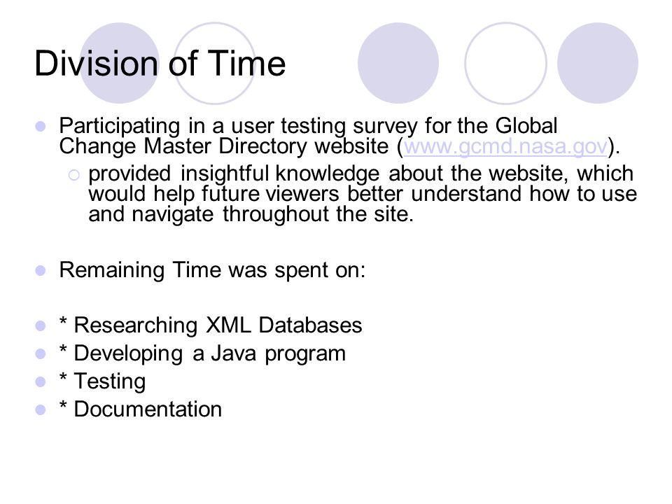 Division of Time Participating in a user testing survey for the Global Change Master Directory website (www.gcmd.nasa.gov).www.gcmd.nasa.gov provided