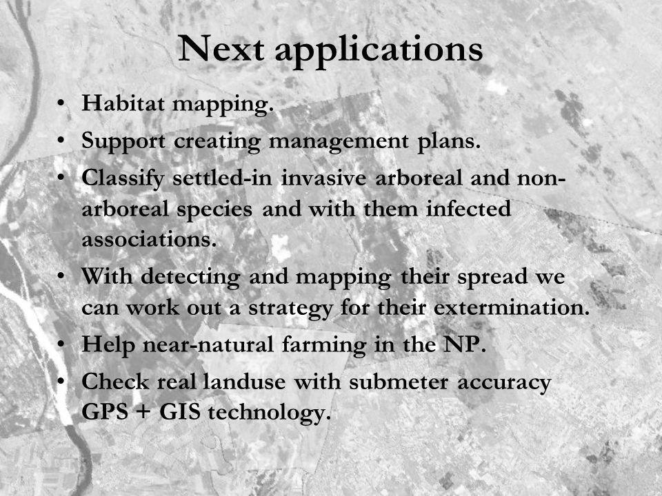 Next applications Habitat mapping. Support creating management plans. Classify settled-in invasive arboreal and non- arboreal species and with them in
