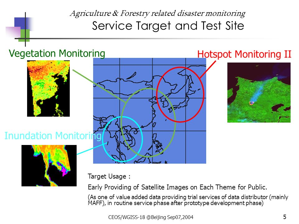 CEOS/WGISS-18 @Beijing Sep07,2004 5 Agriculture & Forestry related disaster monitoring Service Target and Test Site Hotspot Monitoring II Vegetation Monitoring Inundation Monitoring Target Usage : Early Providing of Satellite Images on Each Theme for Public.