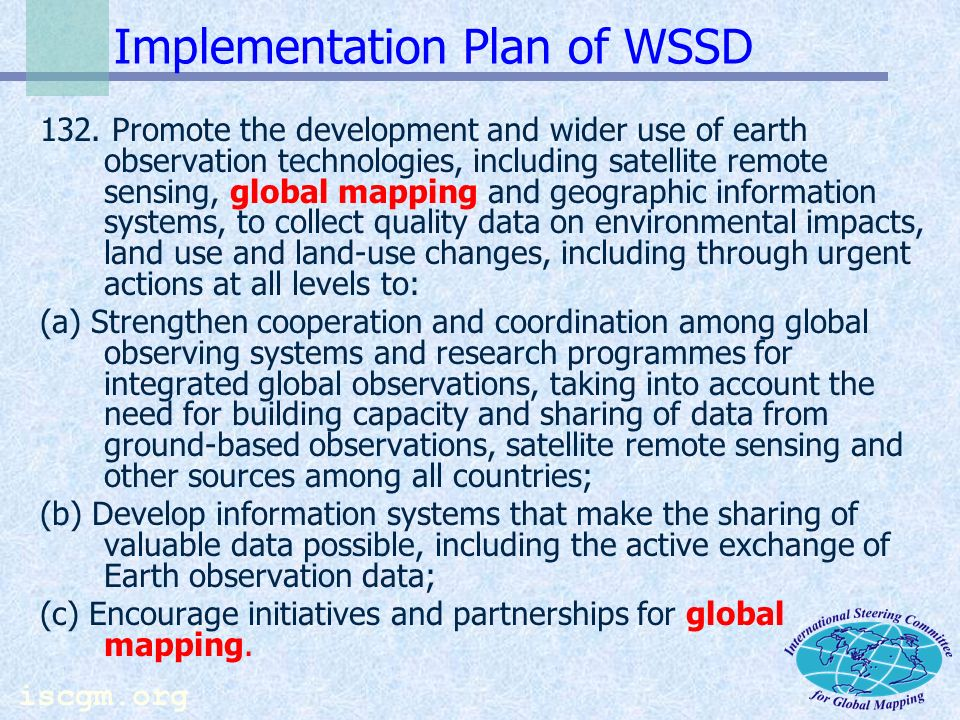 iscgm.org Implementation Plan of WSSD 132.