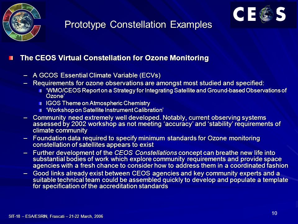 10 SIT-18 – ESA/ESRIN, Frascati – 21-22 March, 2006 Prototype Constellation Examples The CEOS Virtual Constellation for Ozone Monitoring –A GCOS Essential Climate Variable (ECVs) –Requirements for ozone observations are amongst most studied and specified: WMO/CEOS Report on a Strategy for Integrating Satellite and Ground-based Observations of OzoneWMO/CEOS Report on a Strategy for Integrating Satellite and Ground-based Observations of Ozone IGOS Theme on Atmospheric Chemistry Workshop on Satellite Instrument Calibration –Community need extremely well developed.