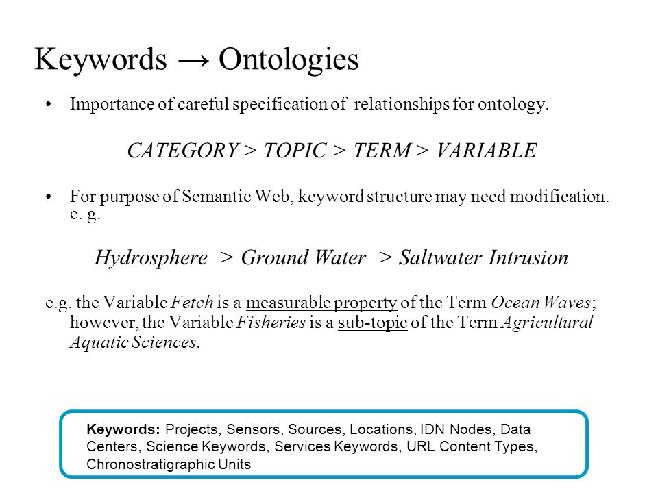 Keywords Ontologies Importance of careful specification of relationships for ontology.