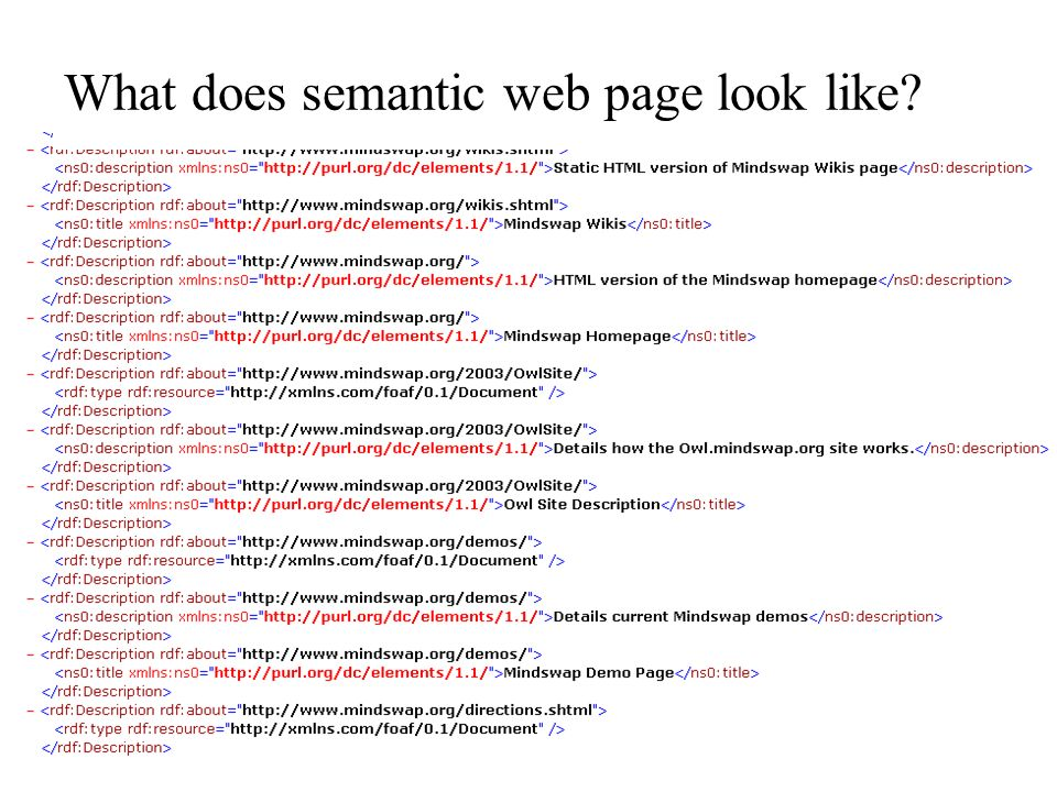 What does semantic web page look like