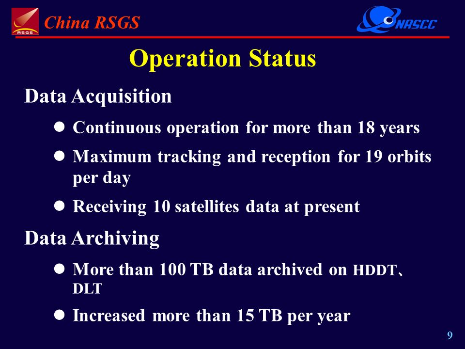 China RSGS 9 Data Acquisition Continuous operation for more than 18 years Maximum tracking and reception for 19 orbits per day Receiving 10 satellites data at present Data Archiving More than 100 TB data archived on HDDT DLT Increased more than 15 TB per year Operation Status