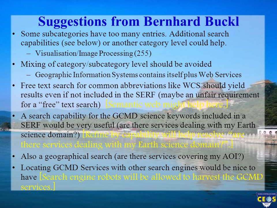 Suggestions from Bernhard Buckl Some subcategories have too many entries.