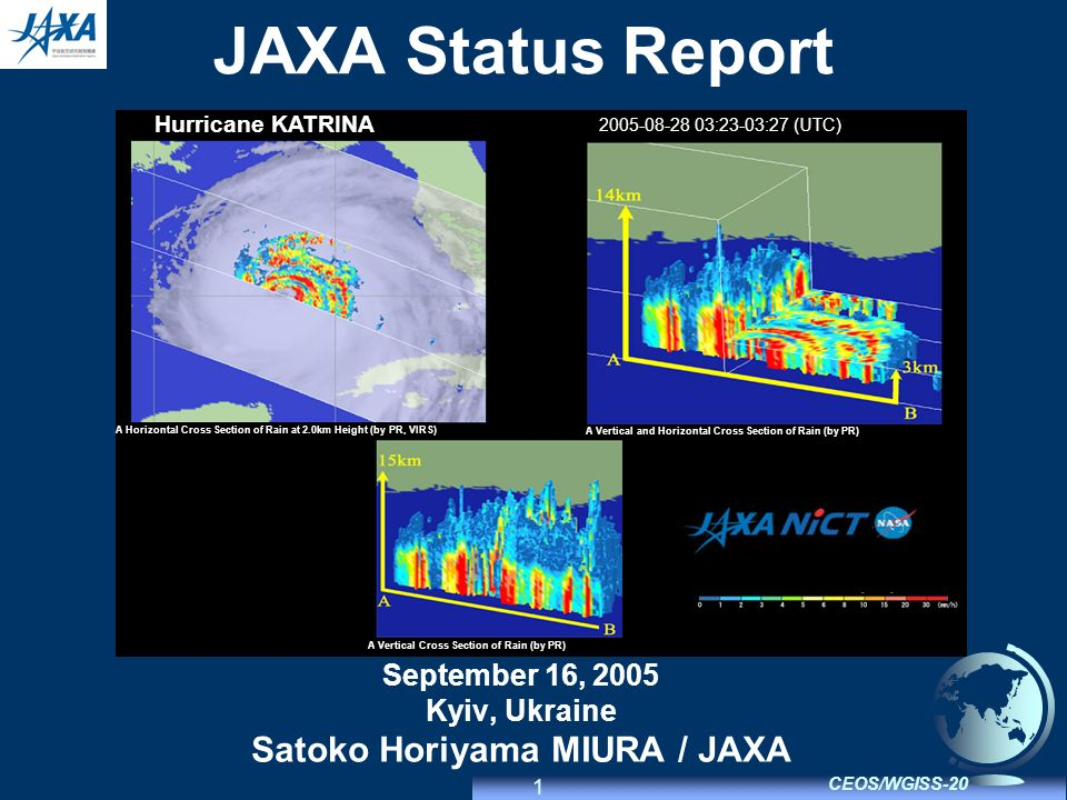 1 CEOS/WGISS-20 JAXA Status Report September 16, 2005 Kyiv, Ukraine Satoko Horiyama MIURA / JAXA Hurricane KATRINA 2005-08-28 03:23-03:27 (UTC) A Horizontal Cross Section of Rain at 2.0km Height (by PR, VIRS) A Vertical and Horizontal Cross Section of Rain (by PR) A Vertical Cross Section of Rain (by PR)