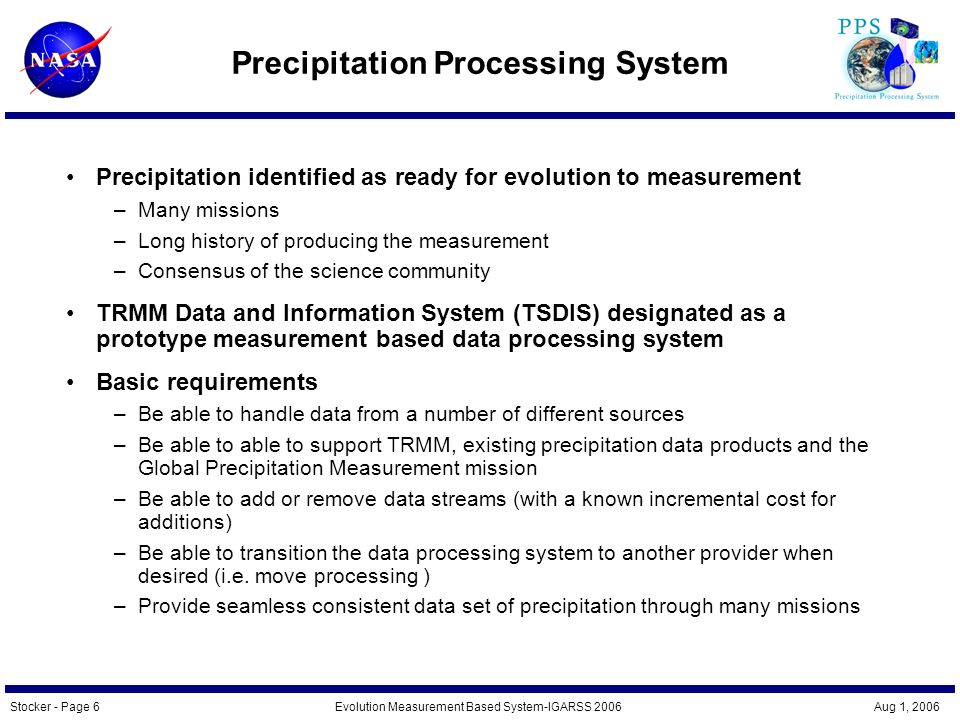Stocker - Page 7Evolution Measurement Based System-IGARSS 2006 Aug 1, 2006 Single Point to Measurement Based