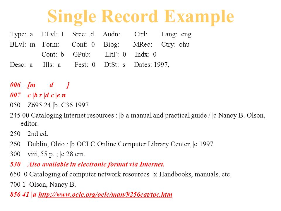 Type: a ELvl: I Srce: d Audn: Ctrl: Lang: eng BLvl: m Form: Conf: 0 Biog: MRec: Ctry: ohu Cont: b GPub: LitF: 0 Indx: 0 Desc: a Ills: a Fest: 0 DtSt: s Dates: 1997, 006 [m d ] 007 c |b r |d c |e n 050 Z695.24 |b.C36 1997 245 00 Cataloging Internet resources : |b a manual and practical guide / |c Nancy B.
