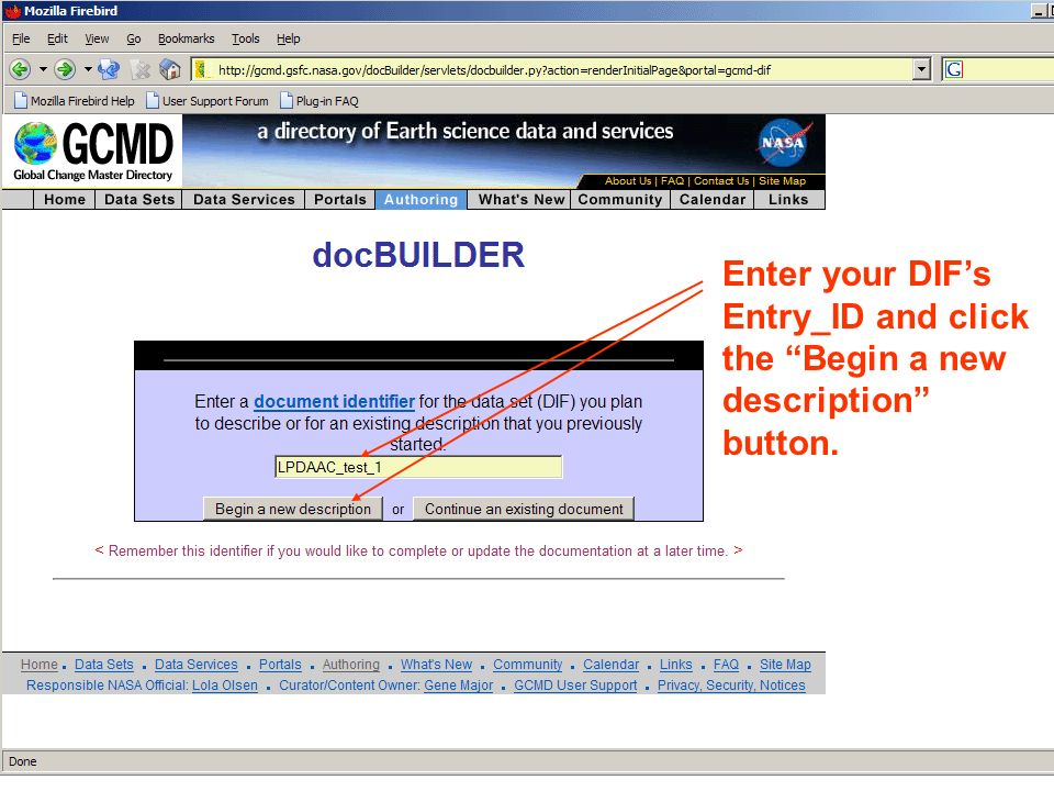 Enter your DIFs Entry_ID and click the Begin a new description button.