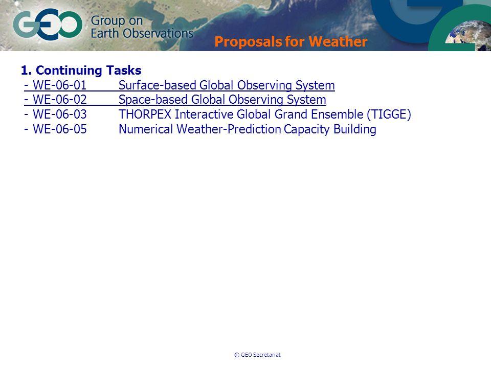 © GEO Secretariat Proposals for Weather 1. Continuing Tasks - WE-06-01Surface-based Global Observing System - WE-06-02Space-based Global Observing Sys