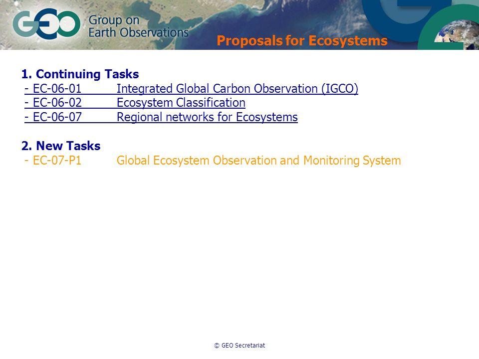 © GEO Secretariat 1. Continuing Tasks - EC-06-01Integrated Global Carbon Observation (IGCO) - EC-06-02Ecosystem Classification - EC-06-07Regional netw