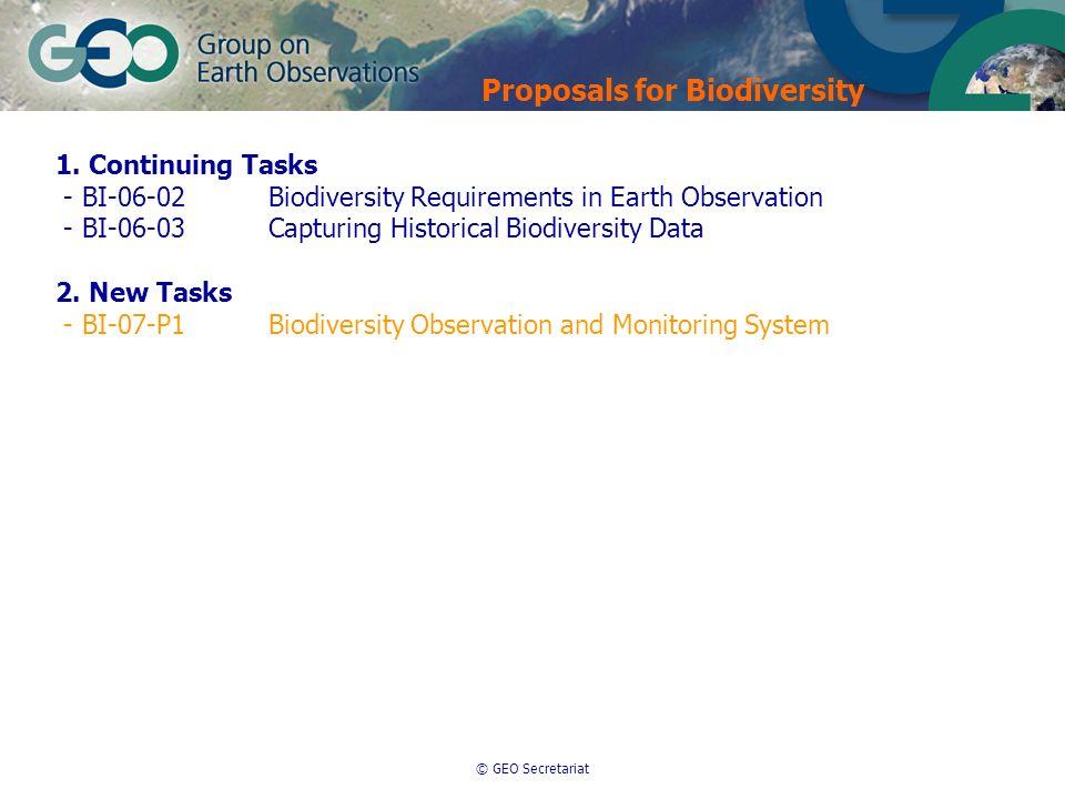 © GEO Secretariat 1. Continuing Tasks - BI-06-02Biodiversity Requirements in Earth Observation - BI-06-03Capturing Historical Biodiversity Data 2. New