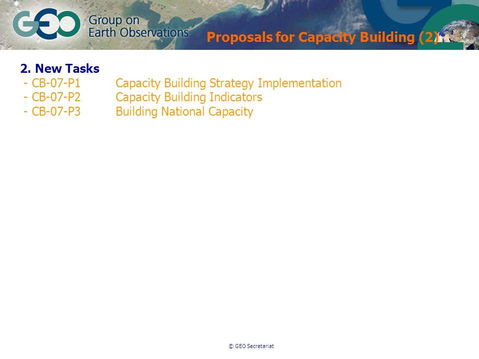 © GEO Secretariat Proposals for Capacity Building (2) 2. New Tasks - CB-07-P1Capacity Building Strategy Implementation - CB-07-P2Capacity Building Ind