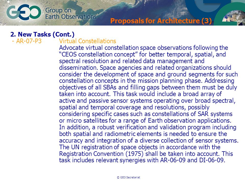 © GEO Secretariat Proposals for Architecture (3) 2.