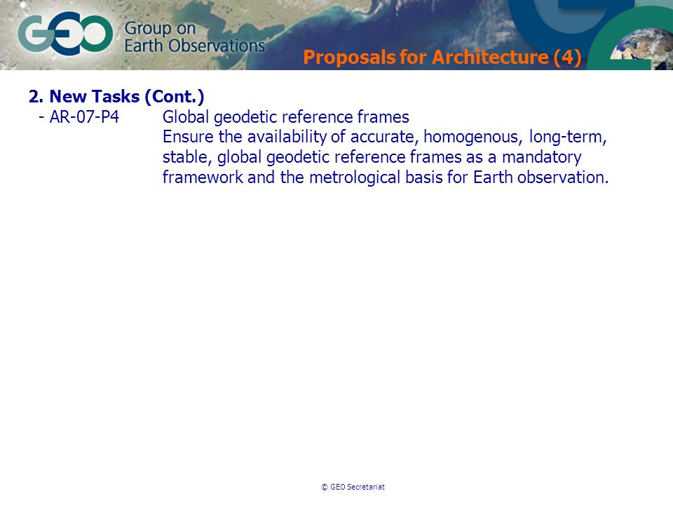 © GEO Secretariat Proposals for Architecture (4) 2.