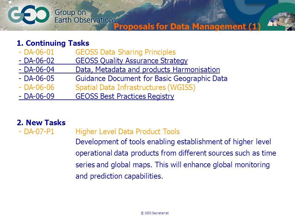 © GEO Secretariat Proposals for Data Management (1) 1. Continuing Tasks - DA-06-01GEOSS Data Sharing Principles - DA-06-02GEOSS Quality Assurance Stra