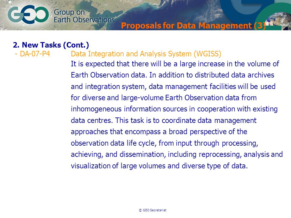 © GEO Secretariat Proposals for Data Management (3) 2.