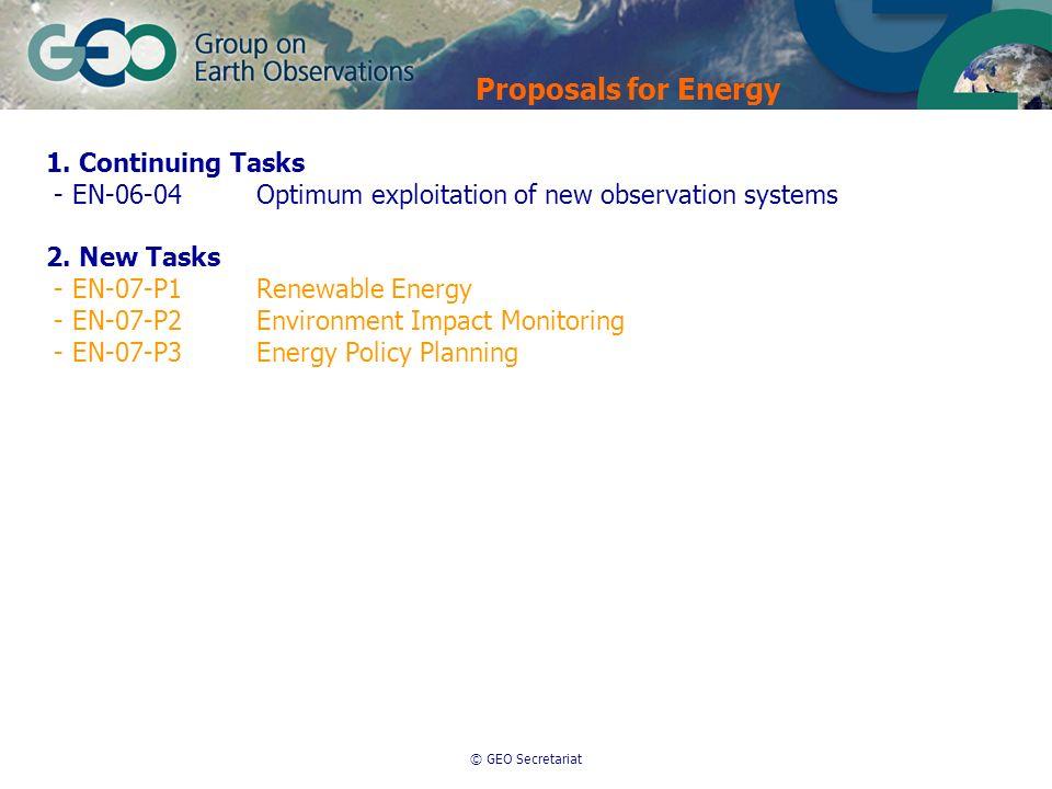 © GEO Secretariat 1. Continuing Tasks - EN-06-04Optimum exploitation of new observation systems 2. New Tasks - EN-07-P1Renewable Energy - EN-07-P2Envi