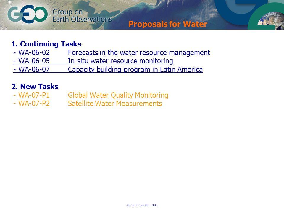 © GEO Secretariat 1. Continuing Tasks - WA-06-02Forecasts in the water resource management - WA-06-05In-situ water resource monitoring - WA-06-07Capac