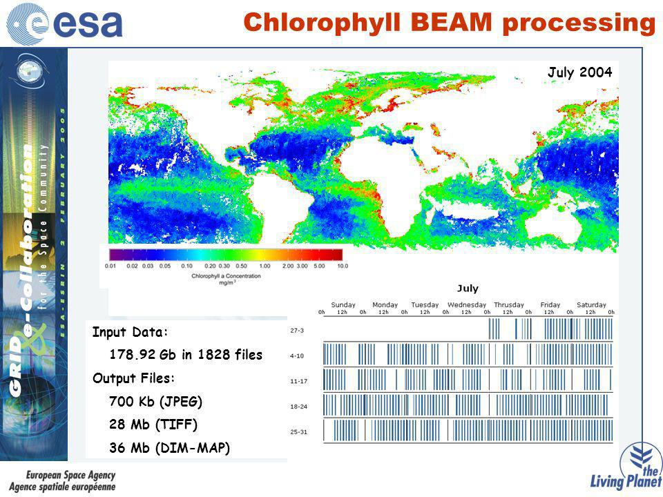 Chlorophyll BEAM processing May 2004June 2004July 2004 Input Data: 198.81Gb in 862 files Output Files: 700 Kb (JPEG) 28 Mb (TIFF) 36 Mb (DIM-MAP) Inpu