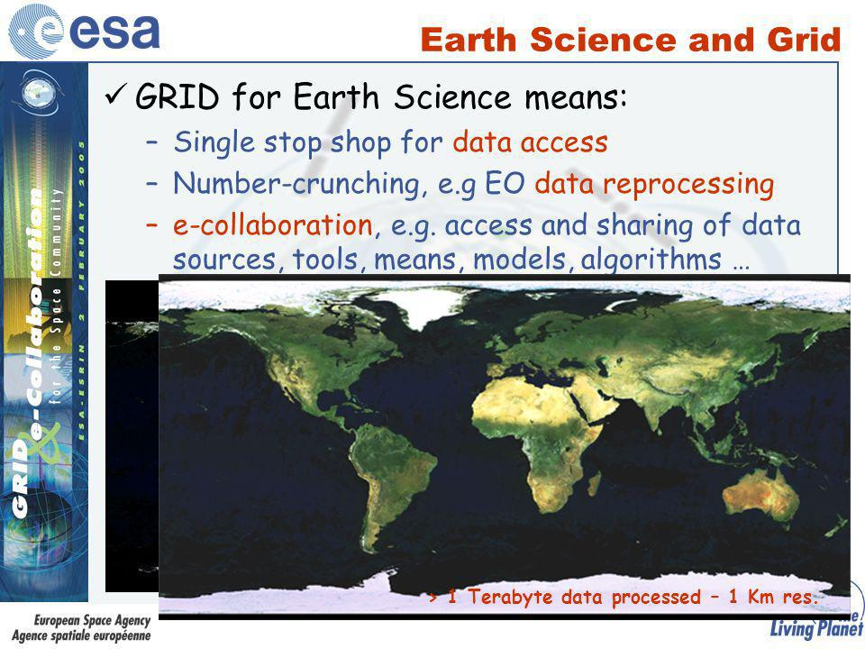 GRID for Earth Science means: –Single stop shop for data access –Number-crunching, e.g EO data reprocessing –e-collaboration, e.g.