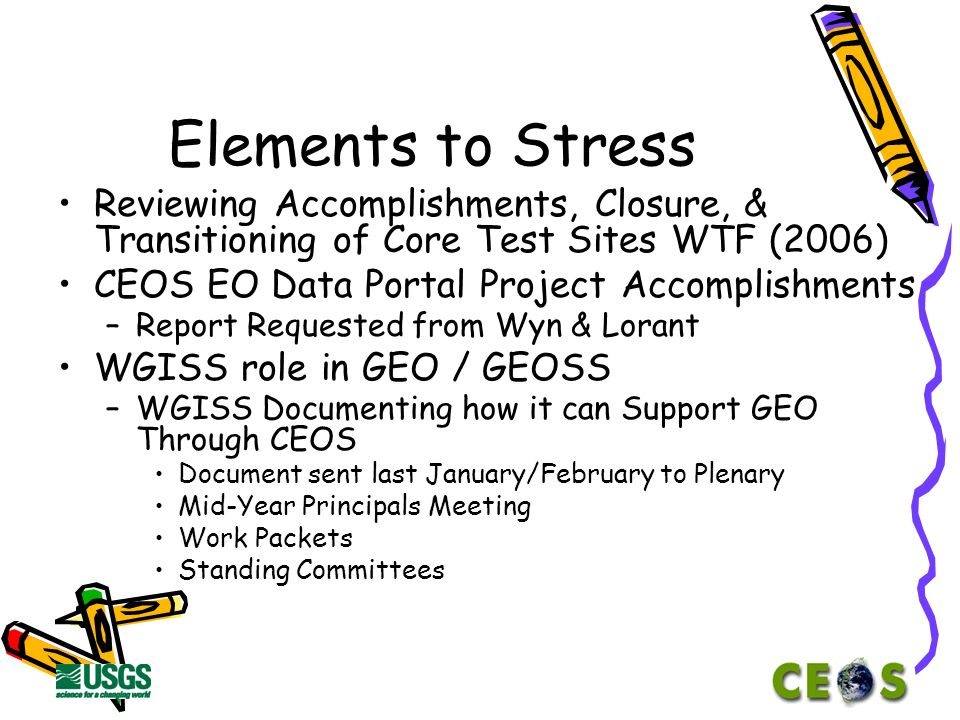 Elements to Stress Ivan Petiteville as New Chair Ken McDonald as New Vice-Chair Meeting Schedule –Spring 2006 Hungary –Fall 2006 USA –Spring 2007.