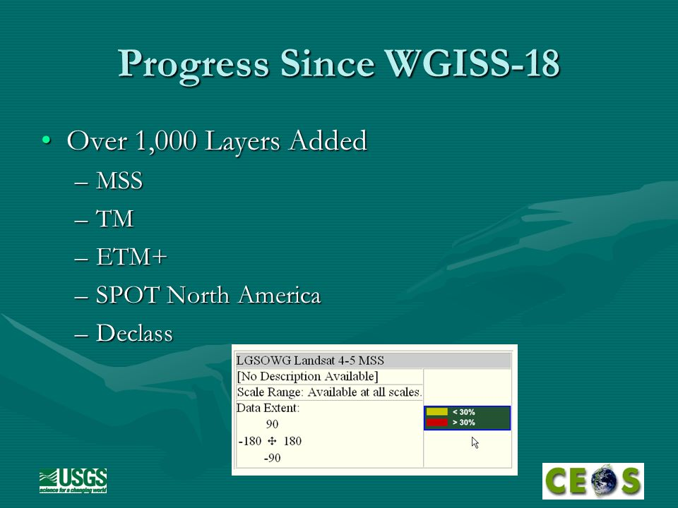 Progress Since WGISS-18 Over 1,000 Layers AddedOver 1,000 Layers Added –MSS –TM –ETM+ –SPOT North America –Declass