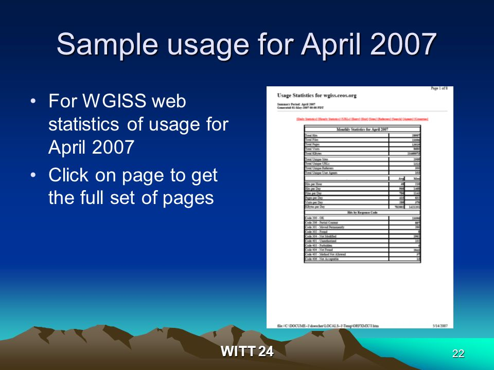 WITT 24 22 Sample usage for April 2007 For WGISS web statistics of usage for April 2007 Click on page to get the full set of pages
