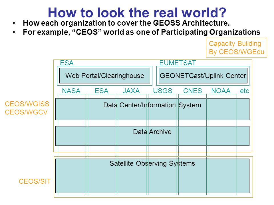 How to look the real world? How each organization to cover the GEOSS Architecture. For example, CEOS world as one of Participating Organizations Satel