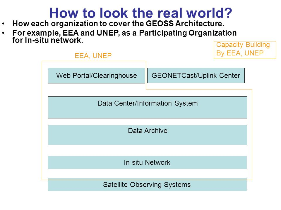 In-situ Network How to look the real world? How each organization to cover the GEOSS Architecture. For example, EEA and UNEP, as a Participating Organ