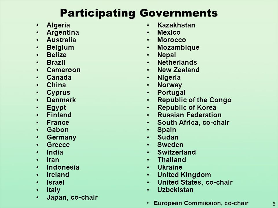 5 Participating Governments Algeria Argentina Australia Belgium Belize Brazil Cameroon Canada China Cyprus Denmark Egypt Finland France Gabon Germany