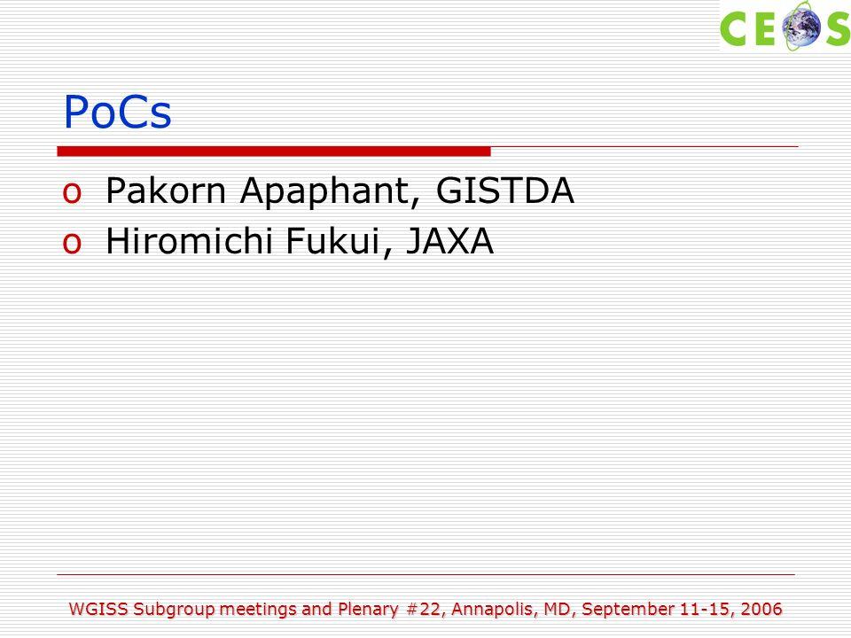 WGISS Subgroup meetings and Plenary #22, Annapolis, MD, September 11-15, 2006 PoCs oPakorn Apaphant, GISTDA oHiromichi Fukui, JAXA
