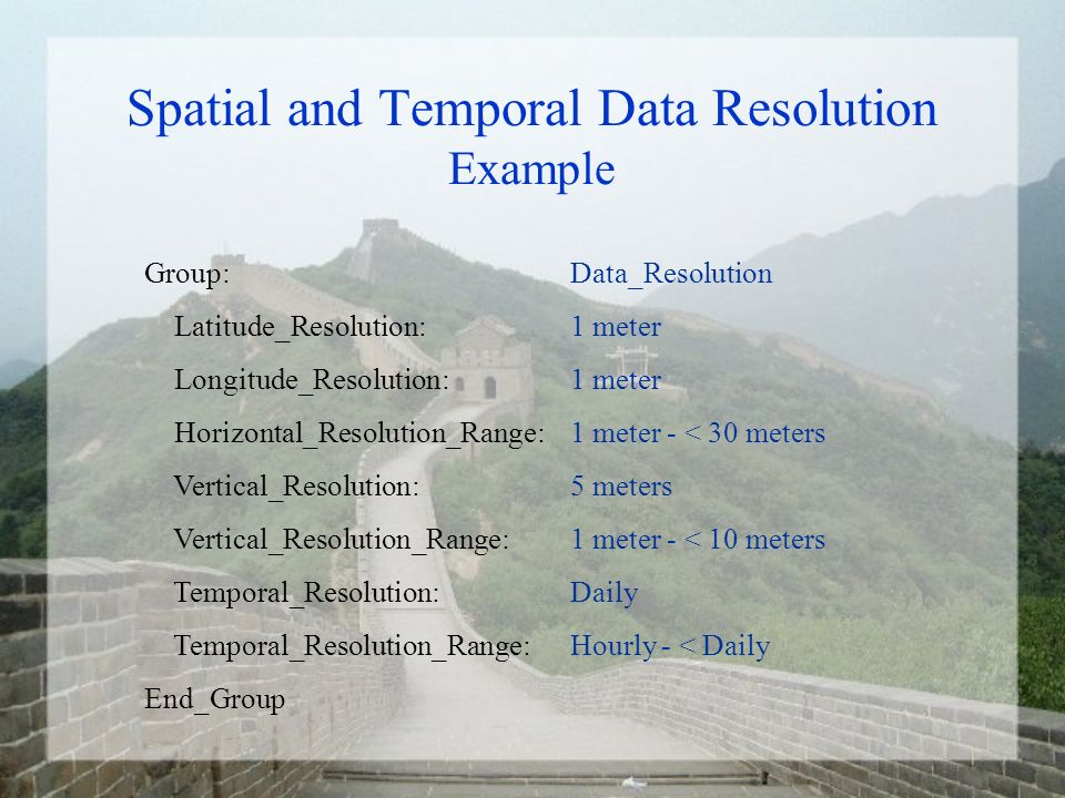 Summary of Proposal Status Spatial and Temporal Data Resolution proposal sent to Interop: September 8, 2003.